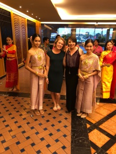Jenn and I with beautiful Thai dancers at our welcome dinner!