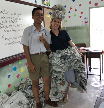 """My school hosted a fashion show competition in which the students made dresses out of recycled materials. While preparing their dress, my class took it off of the mannequin and told me to be the """"newspaper queen."""""""
